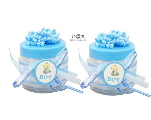 """2"""" Blue Baby Shower Embellished Favor Boxes - Pack of 12"""