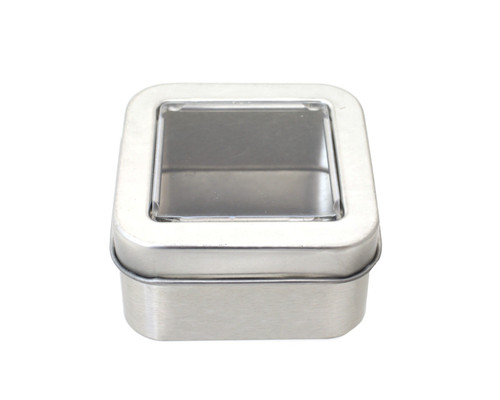 """2""""  Silver Windowed Square Candy Tin Can  - Pack of 12"""