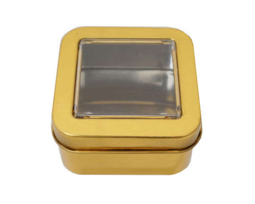 """2""""  Gold Windowed Square Candy Tin Can  - Pack of 12"""