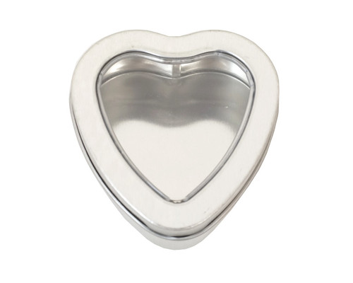 """2.5""""  Silver Heart Shape Windowed Square Candy Tin Can  - Pack of 12"""