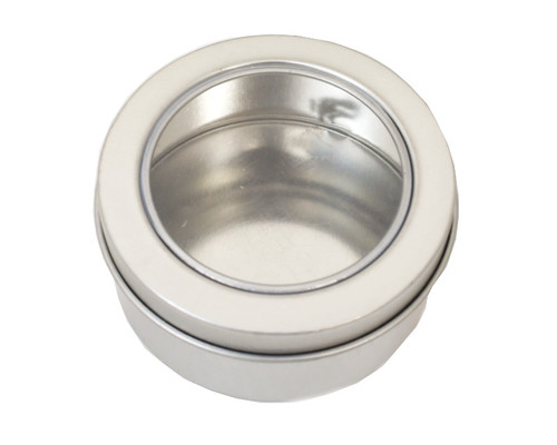 "2.5""  Silver Round Windowed Candy Tin Can  - Pack of 12"
