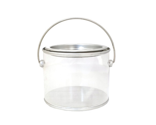 """3.5"""" Silver Round Clear Tin Container  - Pack of 6"""