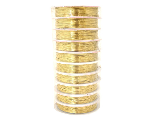 0.4mm (26-Gauge) x 10m Gold Artistic Beading Wire  - Pack of 10 Spools