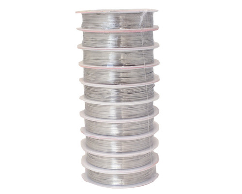 0.4mm (26-Gauge) x 10m Silver Artistic Beading Wire  - Pack of 10 Spools