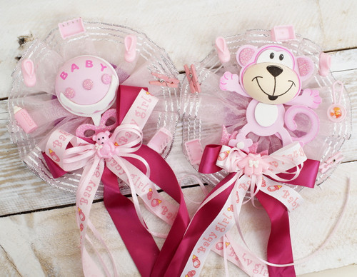 Pink Baby Shower Pin Corsages for Girls   -  Pack of 6 Mixed Corsages