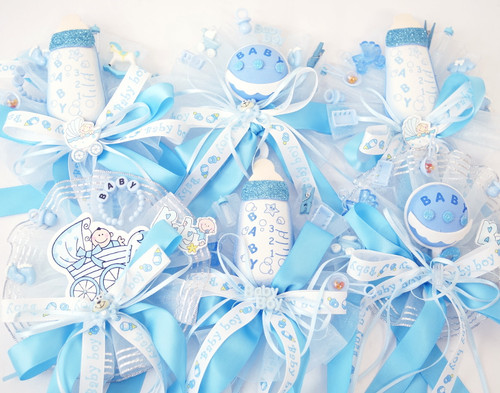 Blue Baby Shower Pin Corsages for Boys   -  Pack of 6 Mixed Corsages