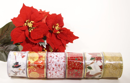 "2.5"" x 10 Yards Assorted Wired Edge Christmas Wholesale Ribbon  - Pack of 72 Rolls"