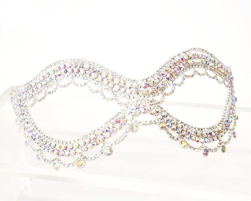 """7.5"""" Silver Rhinestone Masquerade Wedding Eye Mask  - 1 Mask (TR057)"""