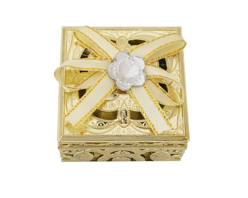 "2"" Gold Squared Ribbon Bow Favor Box - Pack of 12"