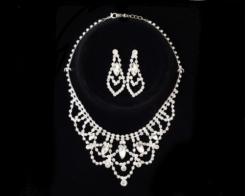 Crystal Rhinestone Necklace and Chandelier Drop Earring Set - 1 Bridal Jewelry Set (TP020)