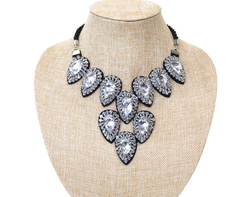 Silver Black Fashion Statement Necklace with Faux Rhinestones - 1 Necklace (LTD2112)