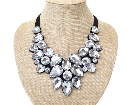 Silver Black Bib Statement Necklace with Faux Rhinestones - 1 Necklace (XL003)