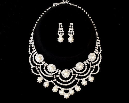 Rhinestone Pearl Necklace and Chandelier Drop Earring Set - 1 Bridal Jewelry Set (LTD2129)