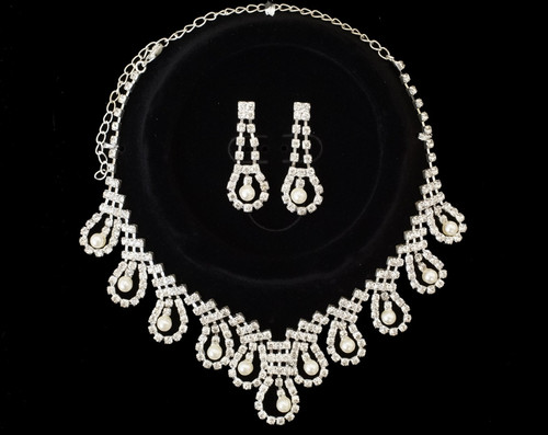 Crystal Rhinestone Faux Pearl Necklace and Drop Earring Set - 1 Bridal Jewelry Set