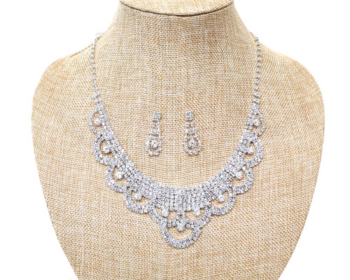 Crystal Rhinestone Pearl Necklace and Chandelier Drop Earring Set - 1 Bridal Jewelry Set (LTD2425)