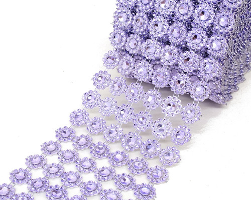 "4"" x 10 yards (30ft) Lavender Flower Mesh Wrap"