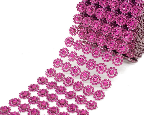 "4"" x 10 yards (30ft) Fuchsia Flower Mesh Wrap"
