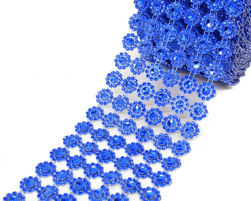 "4"" x 10 yards (30ft) Royal Blue Flower Mesh Wrap"