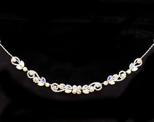 """10"""" Silver AB Crystal Bridal Hair Band with Rhinestones"""