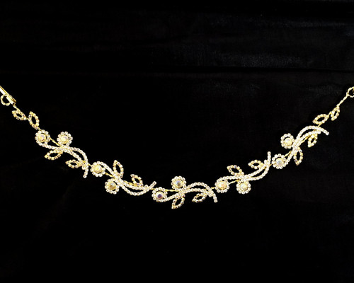 "10"" Gold AB Crystal Bridal Hair Band with Rhinestones"