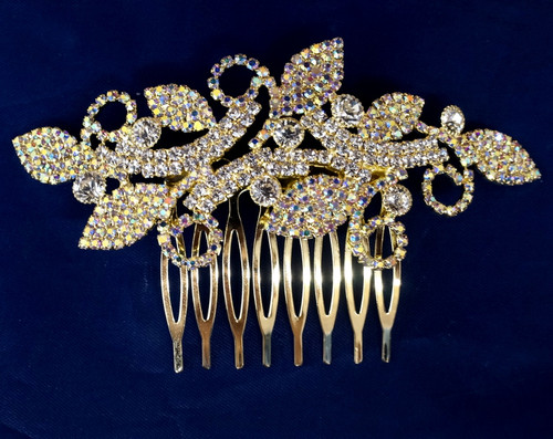 "4"" Gold AB Crystal Bridal Hair Comb with Rhinestones"