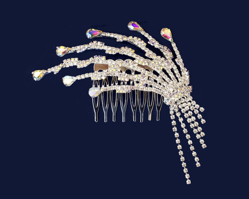 "4"" Silver AB Crystal Bridal Hair Comb with Dangling Rhinestone Chains"