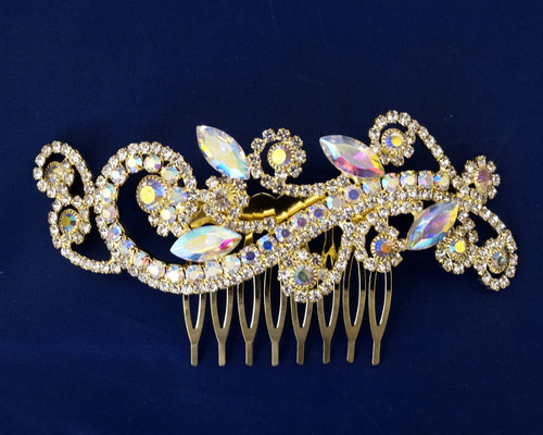 "4.5"" Gold AB Crystal Bridal Hair Comb with Rhinestones"