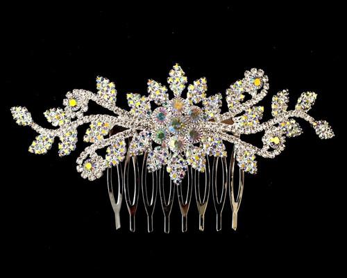 "4.5"" Silver  AB Crystal Bridal Hair Comb with Rhinestones"