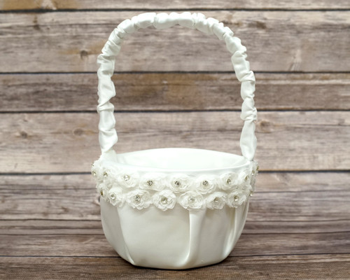 Ivory  Rose Flower Wedding Satin Flower Girl Basket