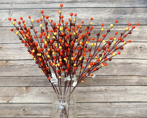 "16"" Artificial Sunset Orange Berry Twig Branch - Pack of 12 Wired Berry Stems"