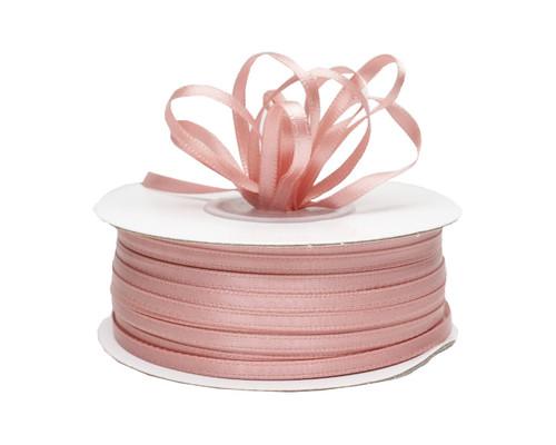 "1/8"" x 100 yard Blush Polyester Satin Gift Ribbon - Pack of 10 Rolls"