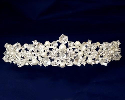 Silver Crystal Pearl Rhinestone Tiara (TR033)