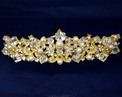 Gold Crystal Pearl Rhinestone Tiara  (TR033)