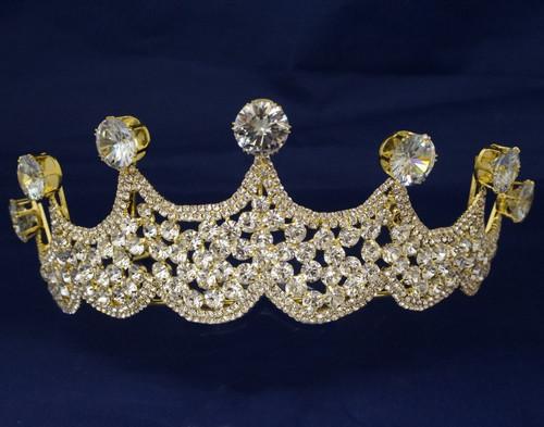 Gold Crystal Rhinestone Crown Tiara (TV041)
