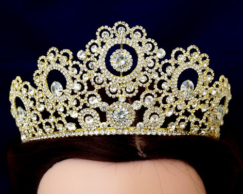 Gold Crystal Rhinestone Crown Tiara (TY015)