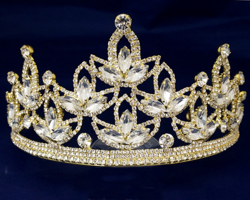 Gold Crystal Rhinestone Crown Tiara (TV040)