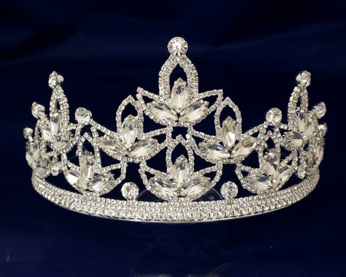 Silver Crystal Rhinestone Crown Tiara (TV040)