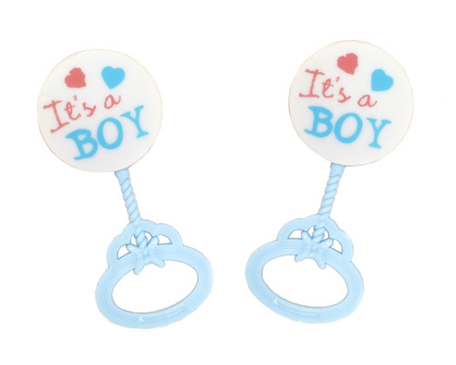"3.5"" Tall Blue Plastic Baby Rattle Decoration ""It's a Boy"" - Pack of 144 Count"