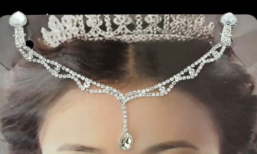 Silver Bridal Rhinestone Forehead Fashion Chain Headpiece - Pack of 3 (TM063)