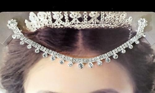 Silver Bridal Rhinestone Forehead Fashion Chain Headpiece - Pack of 3 (TM064)