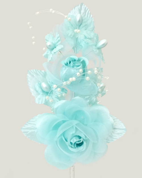 "6"" Aqua Silk Corsage Flowers with Pearl Spray - Pack of 12"