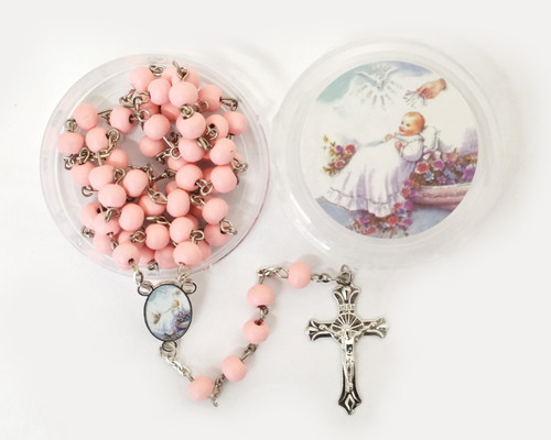 "19"" Pink Scented Wood Rosary Favors for Baptism - Pack of 12"