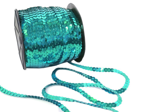 6mm x 100 Yards Turquoise Flat Metallic Cord Strung Sequin Trim