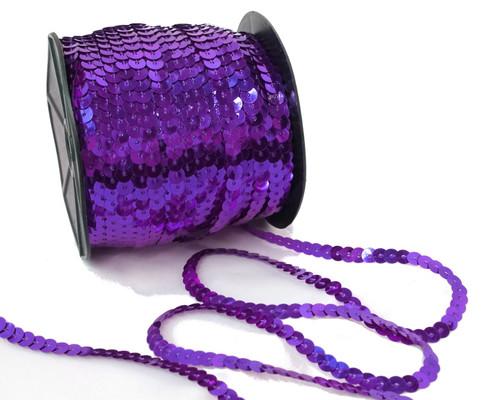 6mm x 100 Yards Purple Flat Metallic Cord Strung Sequin Trim