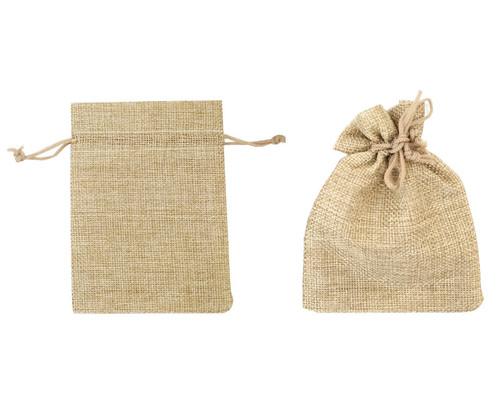 """4"""" x 6"""" Burlap Jute Drawstring Closure Favor Bags - Pack of 144"""
