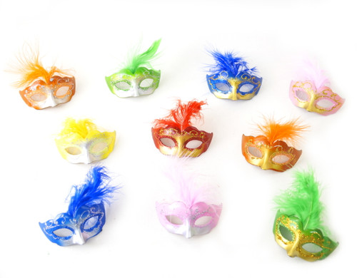 """3.5"""" Mixed Colored Feathered Mini Masquerade Masks - Pack of 72"""