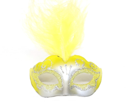"""3.5"""" Gold Yellow/Silver Feathered Mini Masquerade Masks - Pack of 72"""