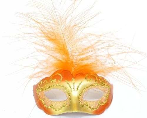 "3.5"" Orange/Gold Feathered Mini Masquerade Masks - Pack of 72"