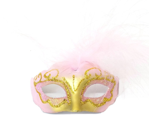 """3.5"""" Pink/Gold Feathered Mini Masquerade Masks - Pack of 72"""
