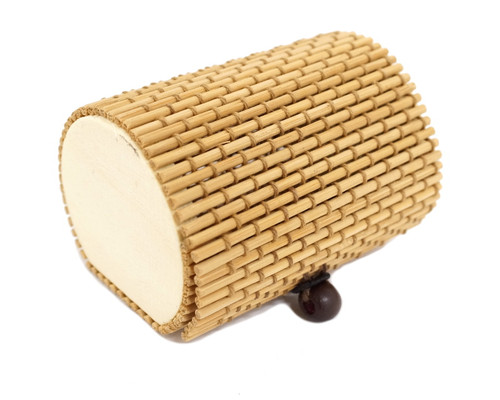 """3"""" Cylinder Shaped Bamboo Favor Gift Box - Pack of 12"""